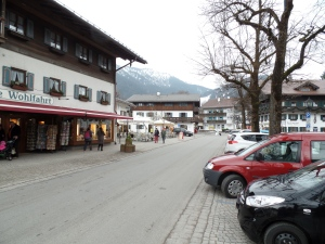 Meandering through the village of Oberammergau .