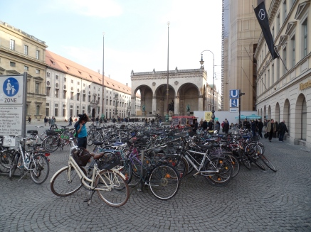 Bicycles are everywhere in downtown Munich.